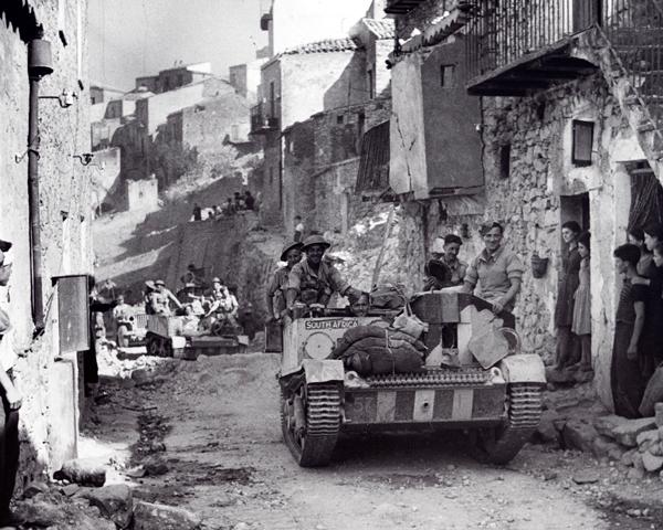 Bren carriers entering Centuripe, Sicily, August 1943