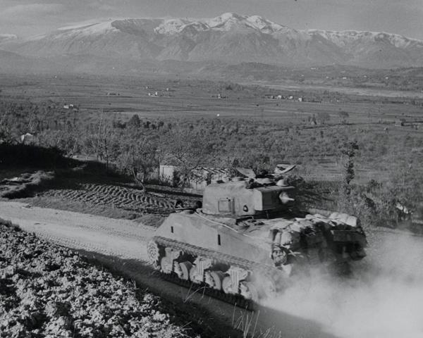 Sherman tanks moving down to the Sangro river, Italy, November 1943