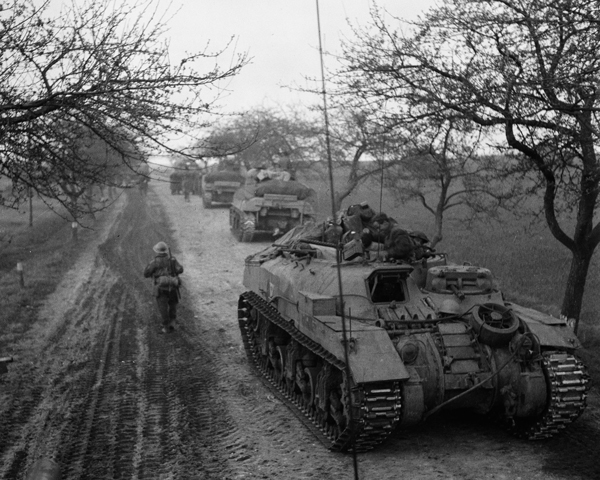 The 5th King's Own Scottish Borderers travelling in Kangaroo APCs, April 1945