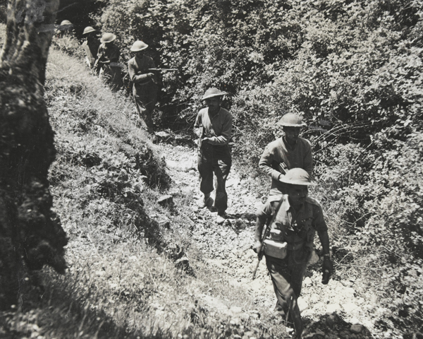 Indian soldiers patrolling an Italian mountain trail, 1944