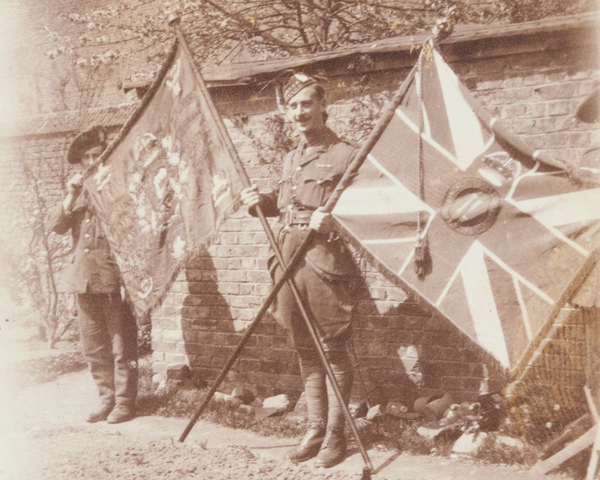 The Colours of a battalion of the King's Own Scottish Borderers, c1916