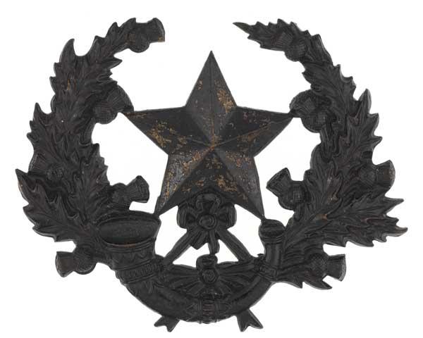 Cap badge, The Cameronians (Scottish Rifles), c1898