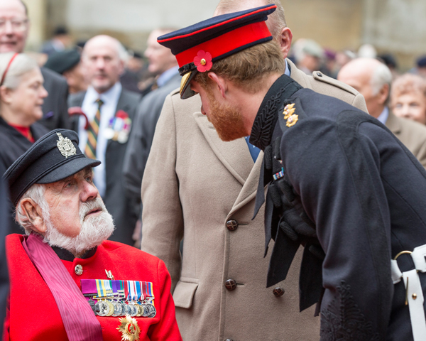Prince Harry chats meets Bill Speakman VC at Westminster Abbey, 2015