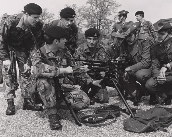 Men of the Staffordshire Regiment with a General Purpose machine gun (GPMG), c1980