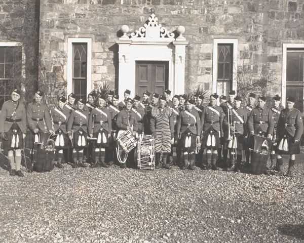 Band of the Cameron Highlanders at the Commando Basic Training Centre, Achnacarry,  1943