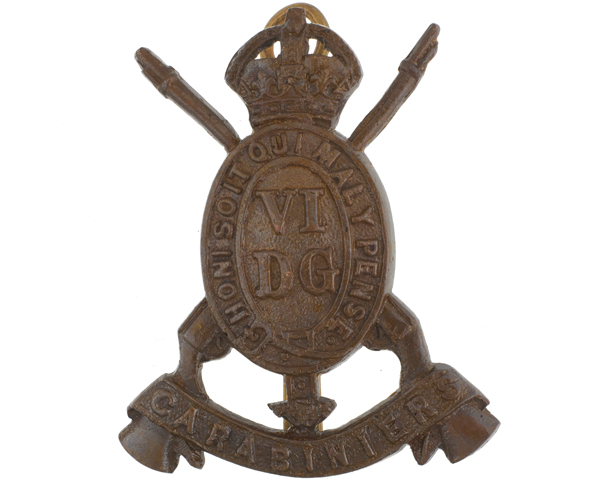 Cap badge, 6th Dragoon Guards (Carabiniers), c1902