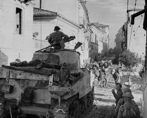 A Sherman tank in Torino Di Sangro, December 1943