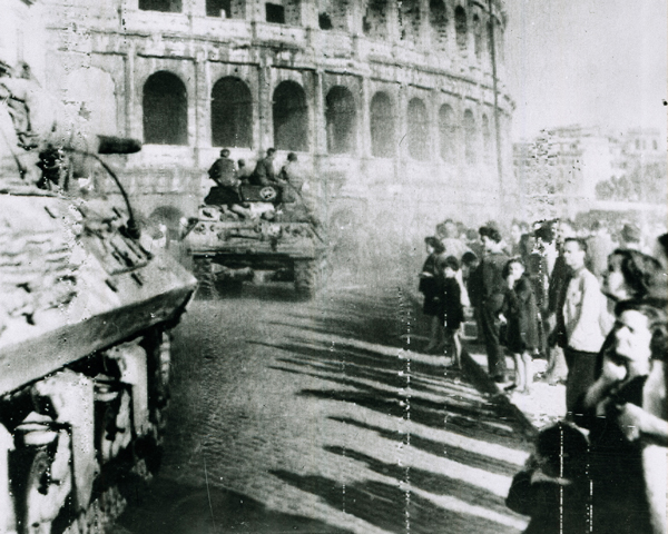 5th Army tanks pass the Colosseum in Rome, 4 June 1944
