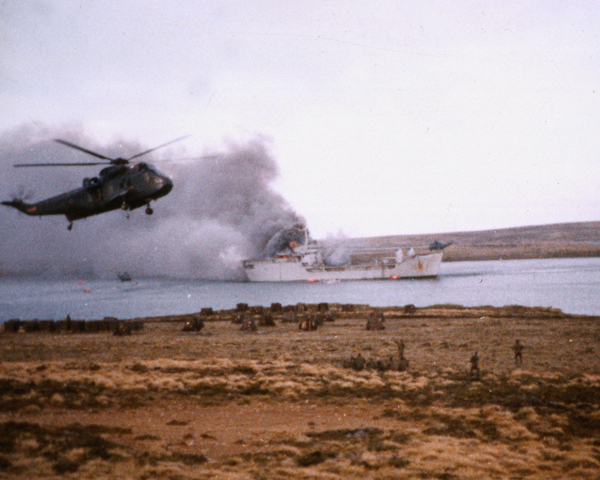 Rescuing survivors from the 'Sir Galahad', 1982