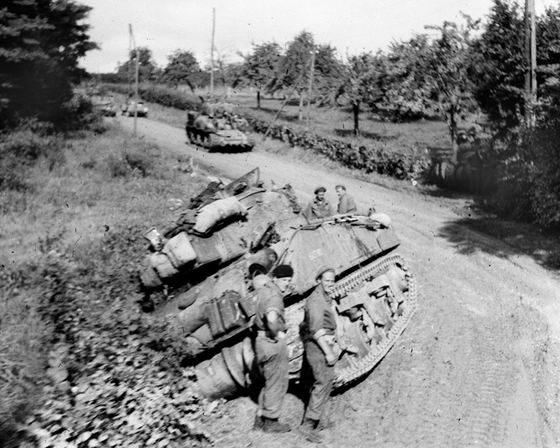 A tank of the Royal Scots Greys ditched during the march towards Antwerp, 1944