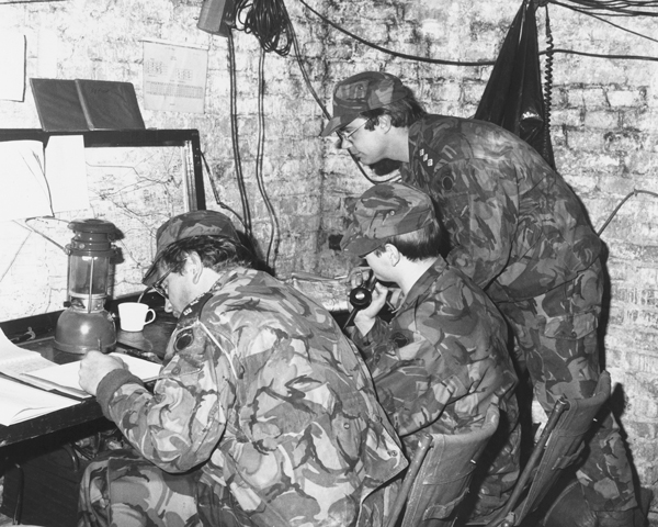 Soldiers from The Royal Irish Rangers in a temporary command post, Germany, 1980