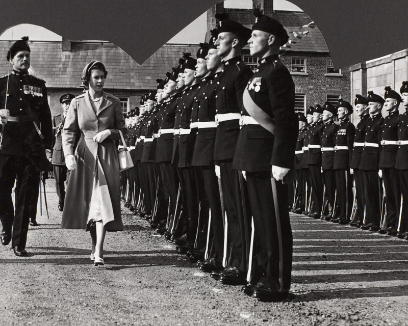 The Queen inspecting the Royal Irish Fusiliers during her Coronation Tour, 1953