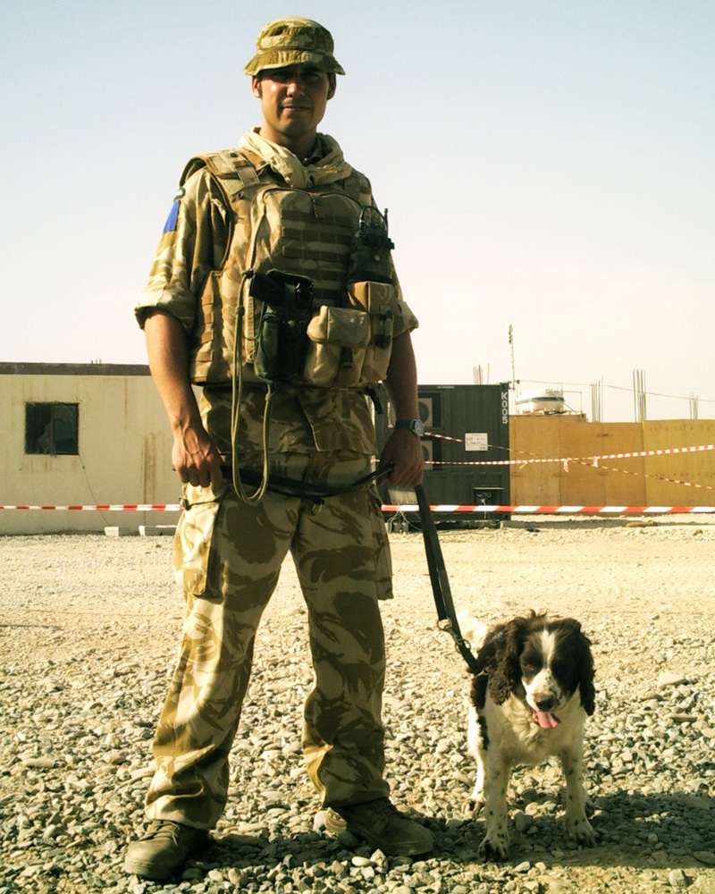 A dog handler with 1st Military Working Dog Regiment, Helmand, 2006