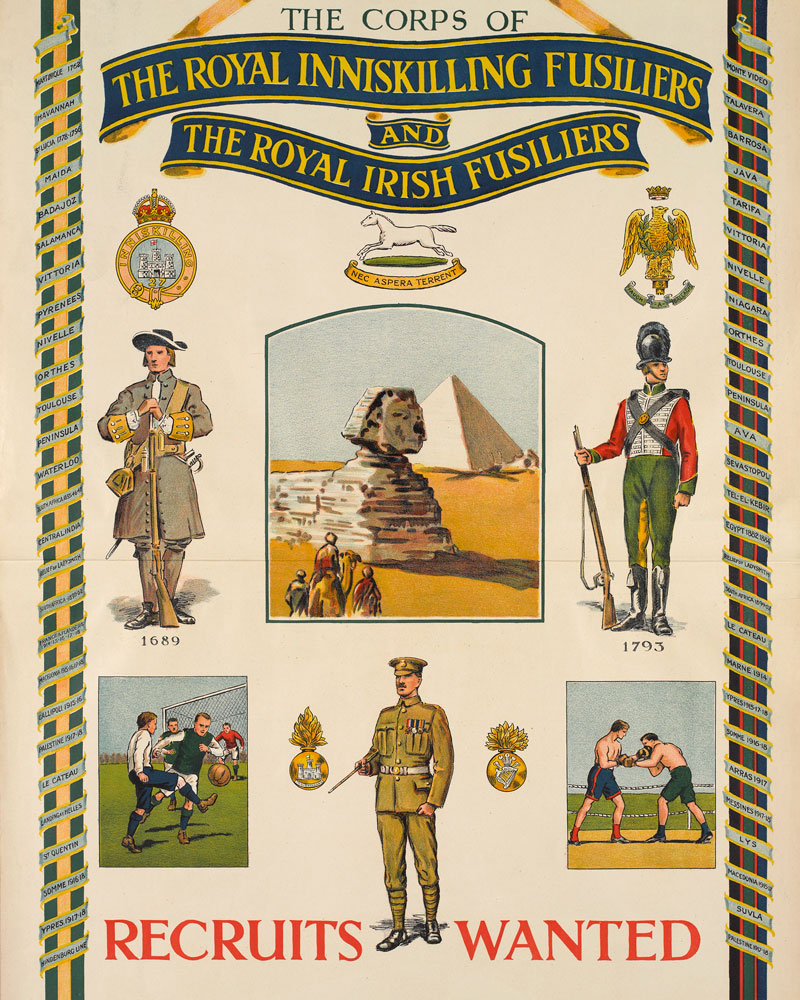 Recruiting poster for the Royal Inniskilling Fusiliers and the Royal Irish Fusiliers, 1925