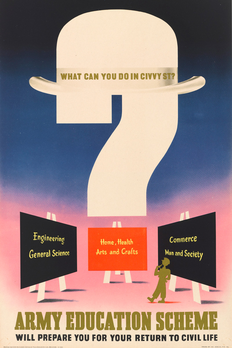 'What can you do in Civvy St?' poster by Abram Games, 1945