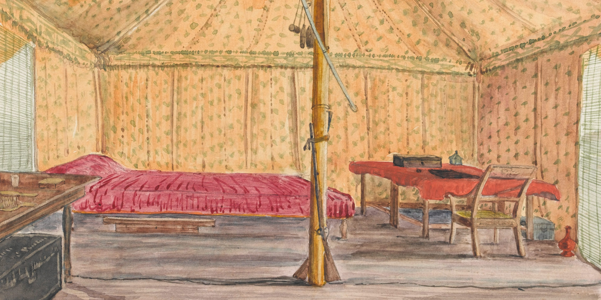Watercolour: 'Inside a tent, 1858'