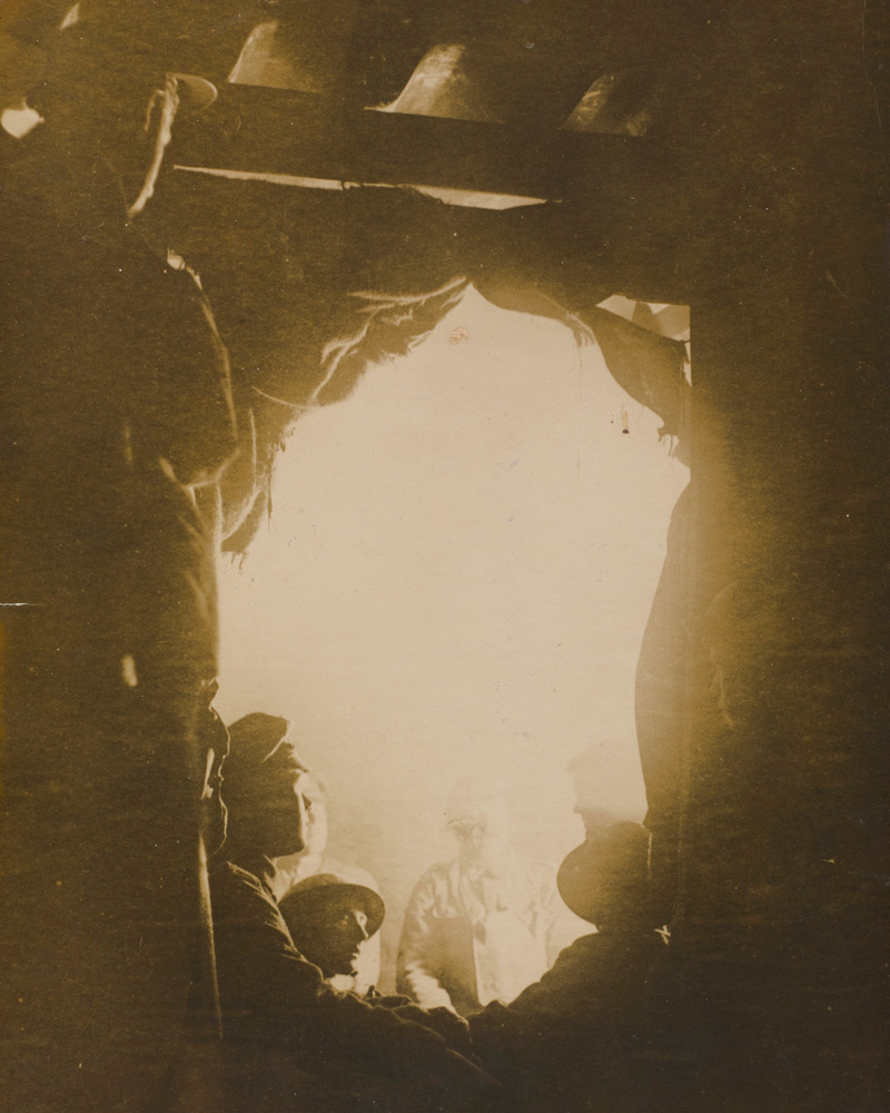 A brazier-lit dug-out held by 12th (Service) Battalion (Central Antrim) The Royal Irish Rifles at Essigny, 1918