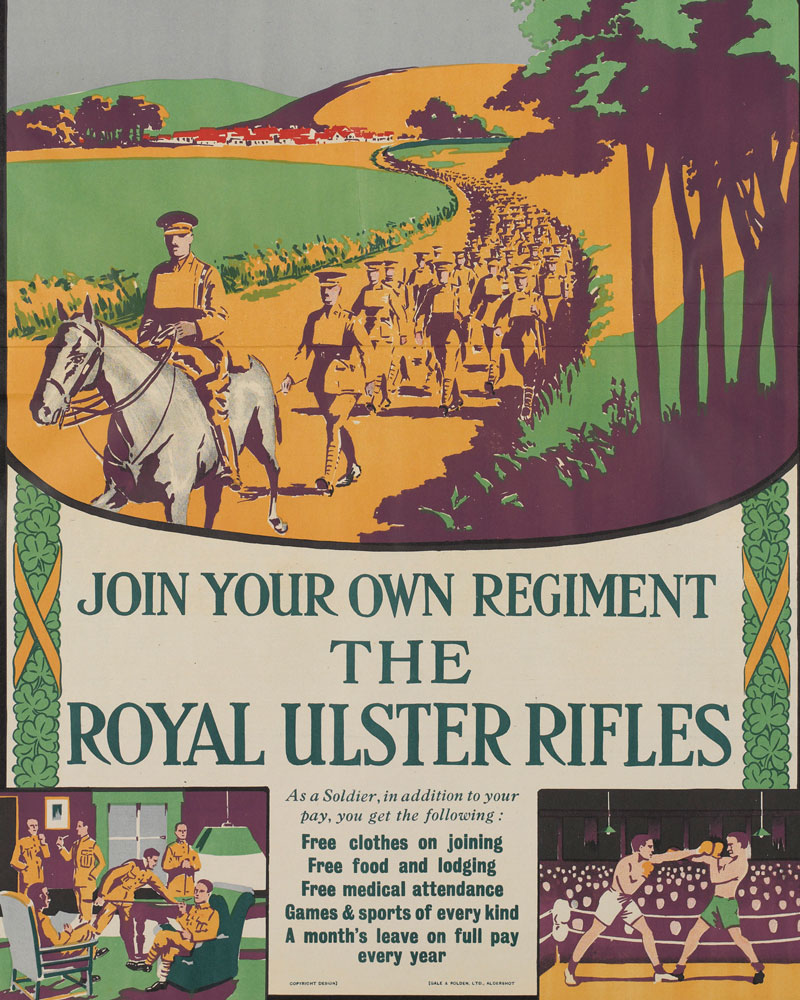 Recruiting poster for The Royal Ulster Rifles, c1922