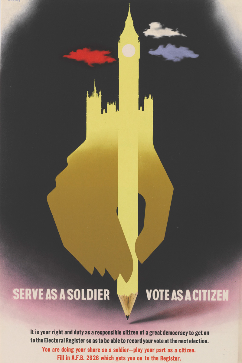 'Serve as a soldier Vote as a citizen' poster by Abram Games, 1945