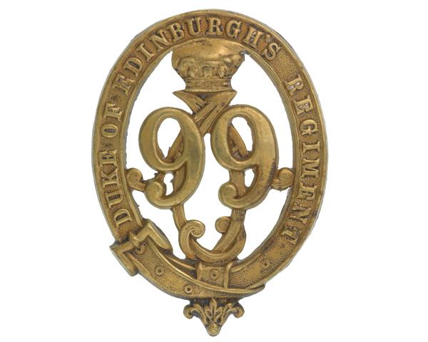 Glengarry badge, other ranks, 99th (Duke of Edinburgh's) Regiment of Foot, c1875