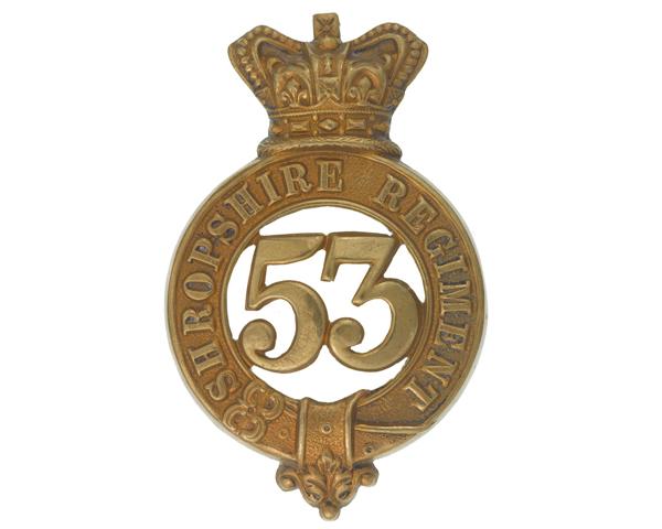 Glengarry badge, other ranks, 53rd (Shropshire) Regiment, c1874