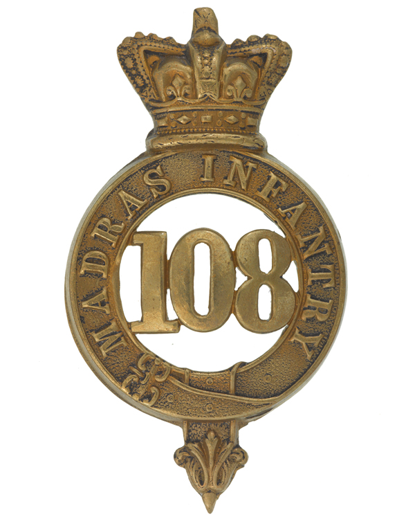 Glengarry badge, other ranks, 108th Regiment of Foot (Madras Infantry), 1874-1881