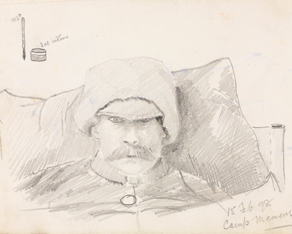 Self-portrait by Captain Reginald Bond, 2nd King's Own Yorkshire Light Infantry, 1898