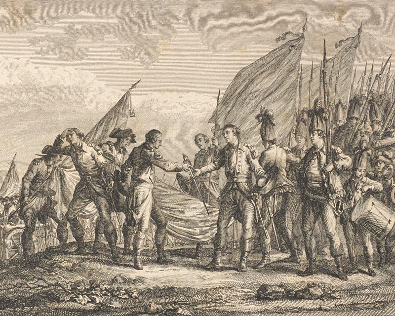 The British surrender at Saratoga, 1777