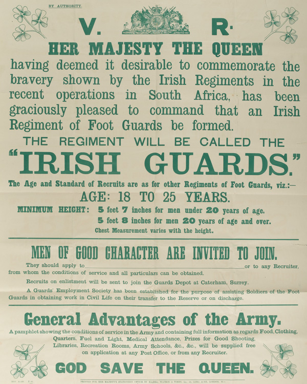 Recruiting poster issued on the formation of The Irish Guards, 1900