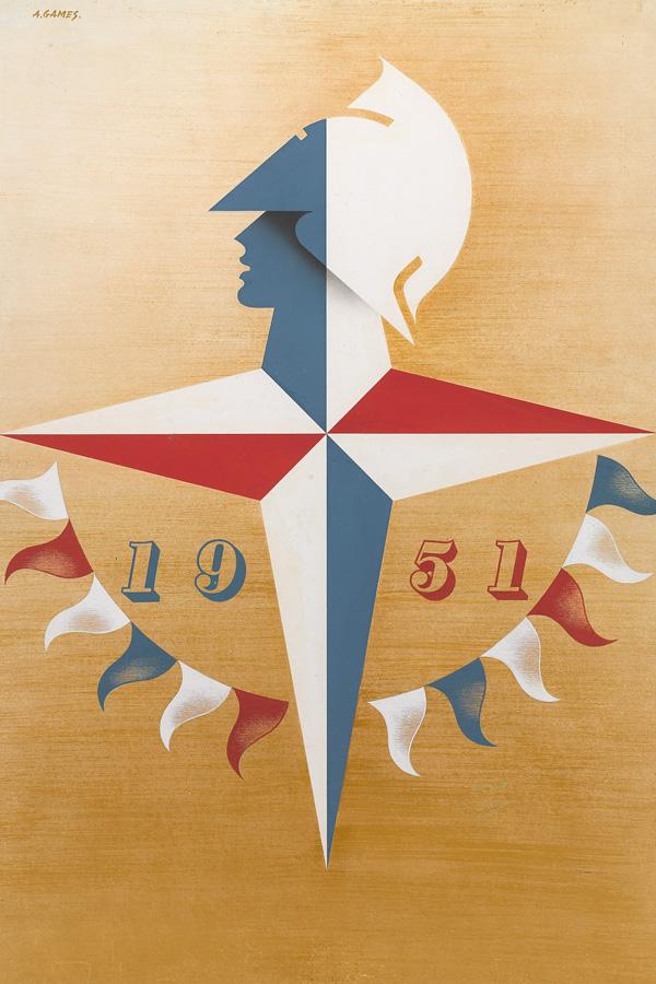 Original artwork for Abram Games's Festival of Britain emblem, 1948