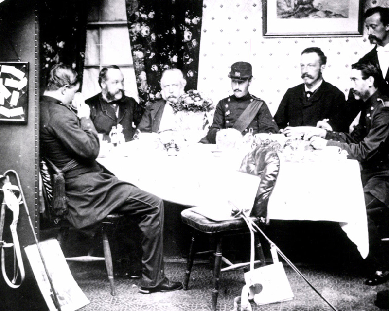 Breakfast in the officers' mess of the 86th Regiment, Gibraltar, c1866
