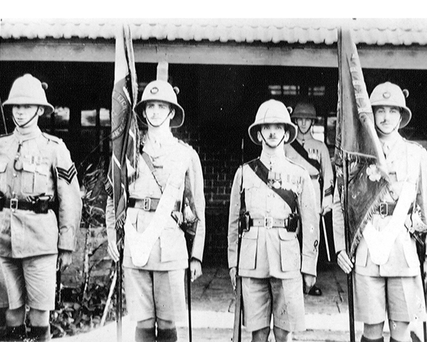 Colour Party, 1st Battalion The King's Own (Yorkshire Light Infantry), Deolali, 1920
