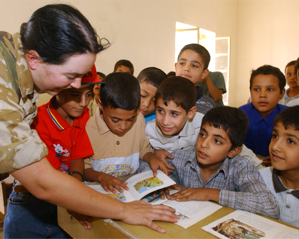 An Army education officer in a Basra school, 2003