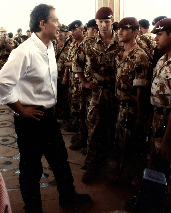 Prime Minister Tony Blair speaking with troops at Basra Palace, 2003