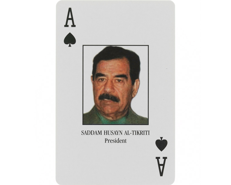 Saddam Hussein, the Ace of Spades in 'Most Wanted Iraqis' playing cards, 2003