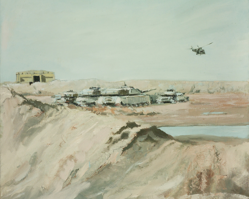 A Lynx helicopter flies over the British tank park at Shaiba, Iraq, 2006