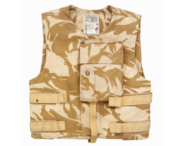 Body armour used by Captain Chris Carling, Royal Electrical and Mechanical Engineers, Iraq, 2006
