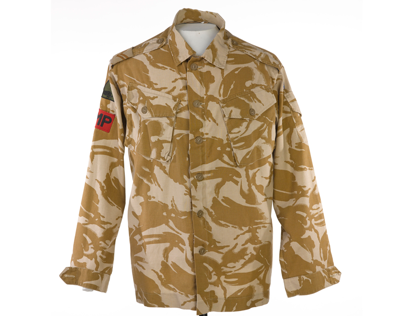 Desert disruptive pattern combat jacket worn by Corporal Mark Hardy, c2003