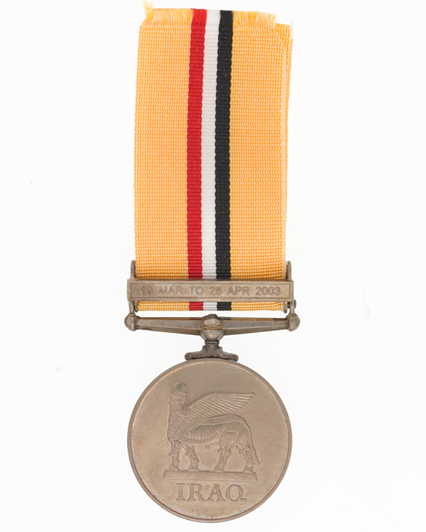 Iraq Medal, with 19 March to 28 April 2003 clasp, awarded to Gunner E D Biudole