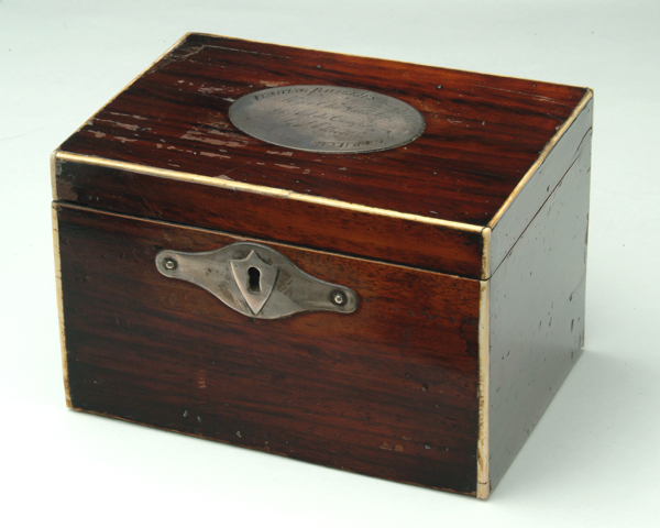 Major Charles Vallotton's tea caddy from the Siege of Gibraltar, c1783
