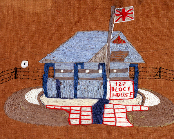 Embroidered blockhouse by a member of The Essex Regiment, 1900