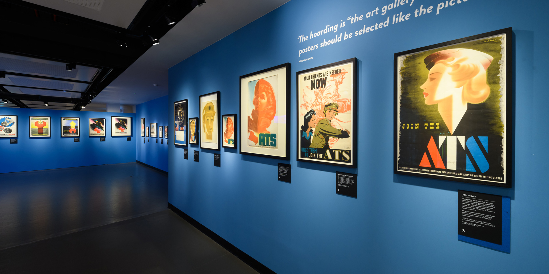 Recruiting posters by Abram Games on display in the 'Art of Persuasion' exhibition