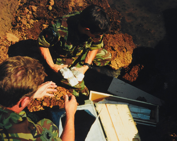 Soldiers of the Royal Gloucestershire, Wiltshire and Berkshire Regiment preparing to detonate ordnance, Kosovo, June 1999