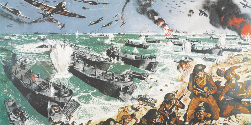 Poster depicting a British landing amid explosions in the air, at sea and on land