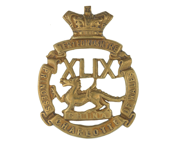 Other ranks' glengarry badge, 49th (Princess Charlotte of Wales's) (or Hertfordshire) Regiment of Foot, c1874