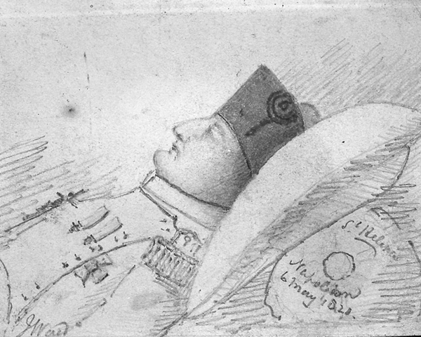 Napoleon on his death bed, sketched by a member of the 66th Regiment, 1821