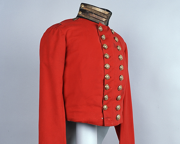 Coatee of Lieutenant Arthur Armstrong of the 49th who was killed at the Battle of Inkerman, 1854