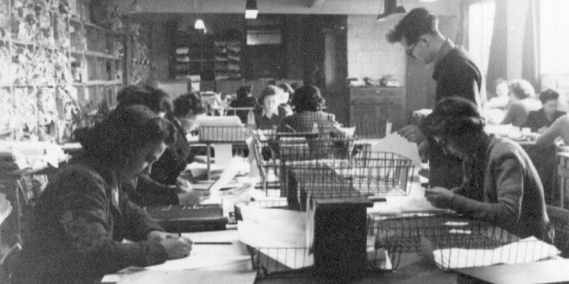 Intelligence workers at Bletchley Park during the Second World War