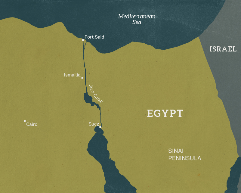 Map of north-east Egypt, 1956