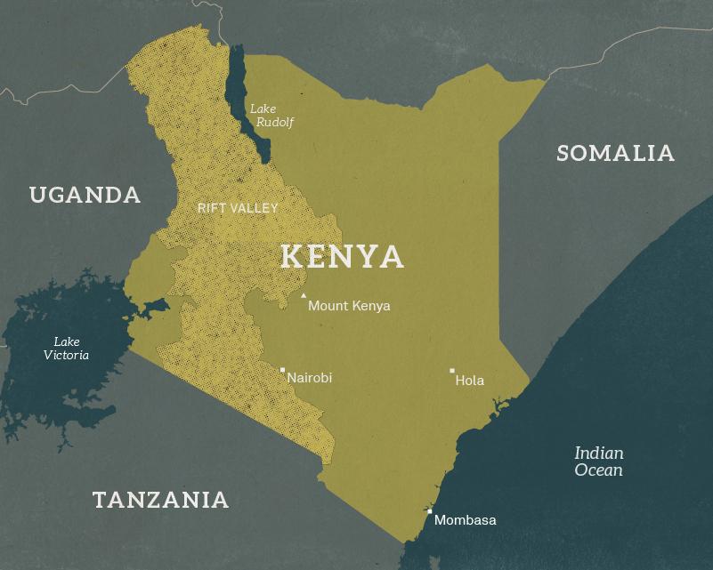 Map of Kenya, 1954